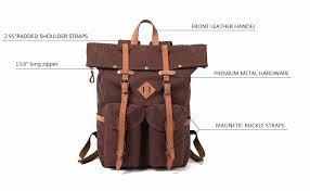 kemy s mens canvas backpack leather rucksack for men travel backpacks