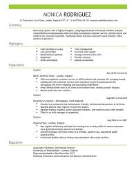 Resume Examples For Cashier Free Resume Templates 2018