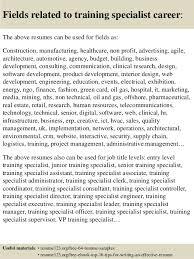 Training Specialist Resume Top 8 Training Specialist Resume Samples