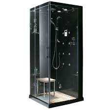 corner shower kits with walls. northeastern bath black tempered glass wall stone composite floor square steam 8-piece corner shower kits with walls r