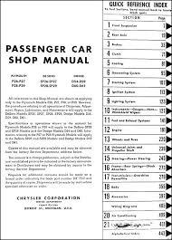1955 export dodge de soto plymouth car repair shop manual original table of contents