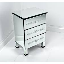 Enchanting 3 Drawers Mirrored Bedside Table Design With Stained Mirror For  White Modern Bedroom