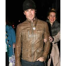 distressed ian somerhalder brown leather motorcycle jacket