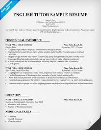 Tutor Resume Sample Delectable Resume Example For English Tutor Teacher Teachers Tutor Resume