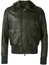 giorgio brato aviator leather jacket green military men