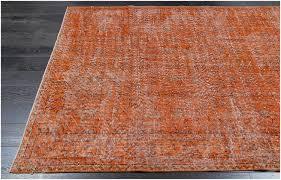 vintage patchwork overdyed orange wool rug 19045