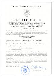 Certificate To Verification Of Legally Controlled Measuring
