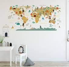 cartoon animals world map wall stickers