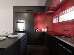 Red Wall Kitchen Kitchen Black Wood Table Red Wall Black Modern Kitchen Cabinets