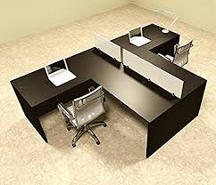 l shaped desk for two. Delighful For Two Person L Shaped Divider Office Workstation Desk Set OTSULSP44 Throughout For