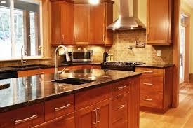 kitchen backsplash cherry cabinets black counter. Cherry Cabinets Combined With Granite Countertops And Limestone Tile Backsplash Complete This Updated Transitional Kitchen. Kitchen Black Counter T
