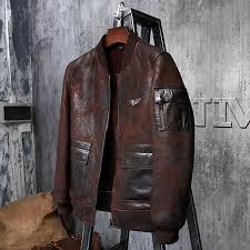 flight jacket short fur leather jacket men s
