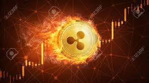 Ripple Stock Price Chart Golden Ripple Coin In Fire With Bull Trading Stock Chart Ripple