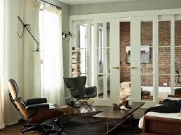 vertical blinds for sliding glass doors living room modern with brick wall cowhide rug curtains ds exposed brick leather