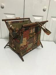 vintage folding sewing knitting basket caddy cloth bag wood frame 1886084876