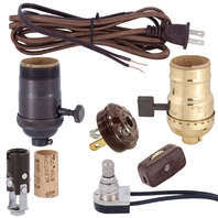 Lamp Sockets, Lamp Cord, Lamp Switches, and Related Electrical Lamp Parts