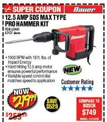 harbor freight hammer drill. harbor freight 12 5 amp sds max type pro demolition hammer kit drill