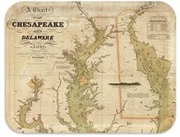 Chesapeake Bay Maps Charts Trays4us Chesapeake And Delaware Bay 1840 16x12 Inches Large Map Serving Tray 70 Different Designs