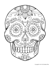 Perfect Sugar Skull Coloring Pages 18 About Remodel Line Drawings
