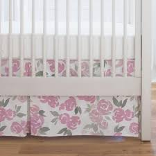 pink and gray watercolor roses crib skirt single pleat