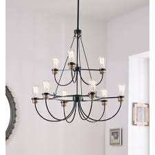 design craft aiden black 9 light 2 tier chandelier