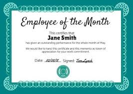 Printable Employee Of The Month Certificates Personalize A Large Selection Of Employee Of The Month