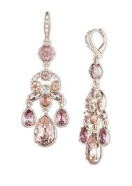 givenchy blush pink crystal and goldtone chandelier earrings