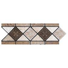 Listellos And Decorative Tile 100x100 Travertine Listello Noce with Metal Accents Bargain Outlet 67