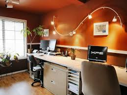 home office lighting design. marvelous home office decoration with orange wall paint and track lighting idea design