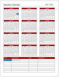 Vacation Calendar Templates Vacation Calendar Template 2017 18 For Ms Word Word