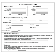 Sample Of Bill Of Sale For Car Car Sale Bill Of Sale Template Free Motor Vehicle Secretary Of State