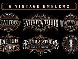 Set Of Vintage Tattoo Studio Logos By Logo Templates On Dribbble