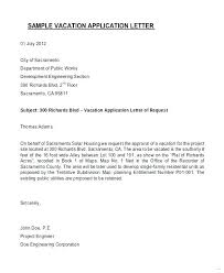 Formal Vacation Request Letter For Approval Sample Letters Emergency