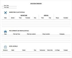 Trip Itinerary Template 4 Free Word Excel Documents