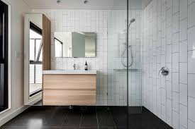 bathroom modern tile. Modern Bullnose Tiles With Magnetic Bathroom Mirrors Contemporary And Floating Vanity Tile
