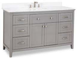 60 Grey Vanity Satin Nickel Hardware Shaker Style Carrara Marble Top Oval Bowl Transitional Bathroom Vanities And Sink Consoles By Kolibri Decor Houzz