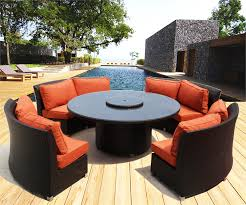 lovely round wicker fire pit cassandra round outdoor wicker dining sofa set patio furniture