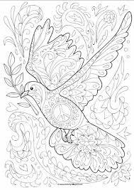 Dove Doodle Colouring Page Godsdienst Dia De La Paz Paloma De