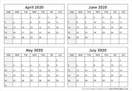 June July 2020 Calendar Calendar April To July 2020 Printable All 12 Month
