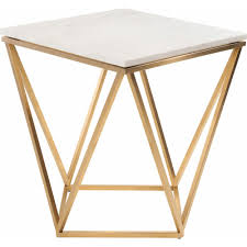 modern furniture table. Beautiful Table Nuevo Modern Furniture Jasmine Side Table W White Marble On Geometric Gold  Brushed Stainless Base Inside E