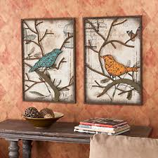 Small Picture 2piece VINTAGE Metal BIRD Wall ART Panel Frame Sculpture DESIGNER