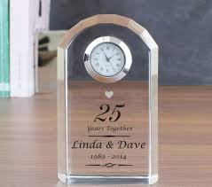 25th wedding anniversary gift ideas personalised silver wedding anniversary clock find me a gift best sheets