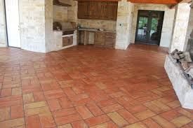 Terracotta used in a cover patio in a backet weave pattern