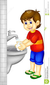 funny boy cartoon washing hand with smile