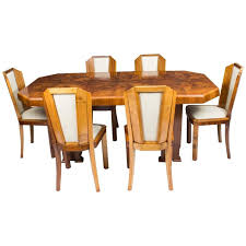 Antique Art Deco Burr Walnut Dining Table Six Chairs circa 1930