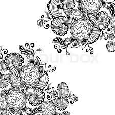 zen doodle background or pattern with flowers black on white for package or for coloring page or relax coloring book stock vector colourbox
