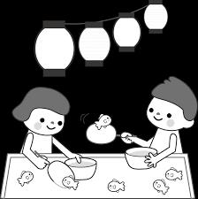 夏まつりイラスト金魚すくい無料イラスト素材