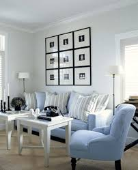 blue and white furniture. Blue Fabrics, Striped Cushions, Living Room Decor, Light Blue  Decorating Ideas And White Furniture