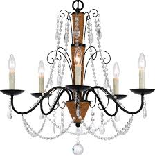 bronze iron rope chandelier with crystals 5 lights