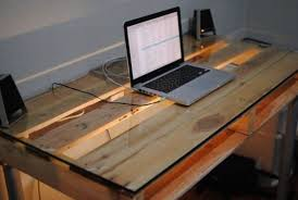 Wood desk with glass top Solid Cherry How To Build Desk From Wooden Pallets Diy Pallet Desk Glass Work Top More Mugwomp How To Build Desk From Wooden Pallets Diy Pallet Desk Glass Work